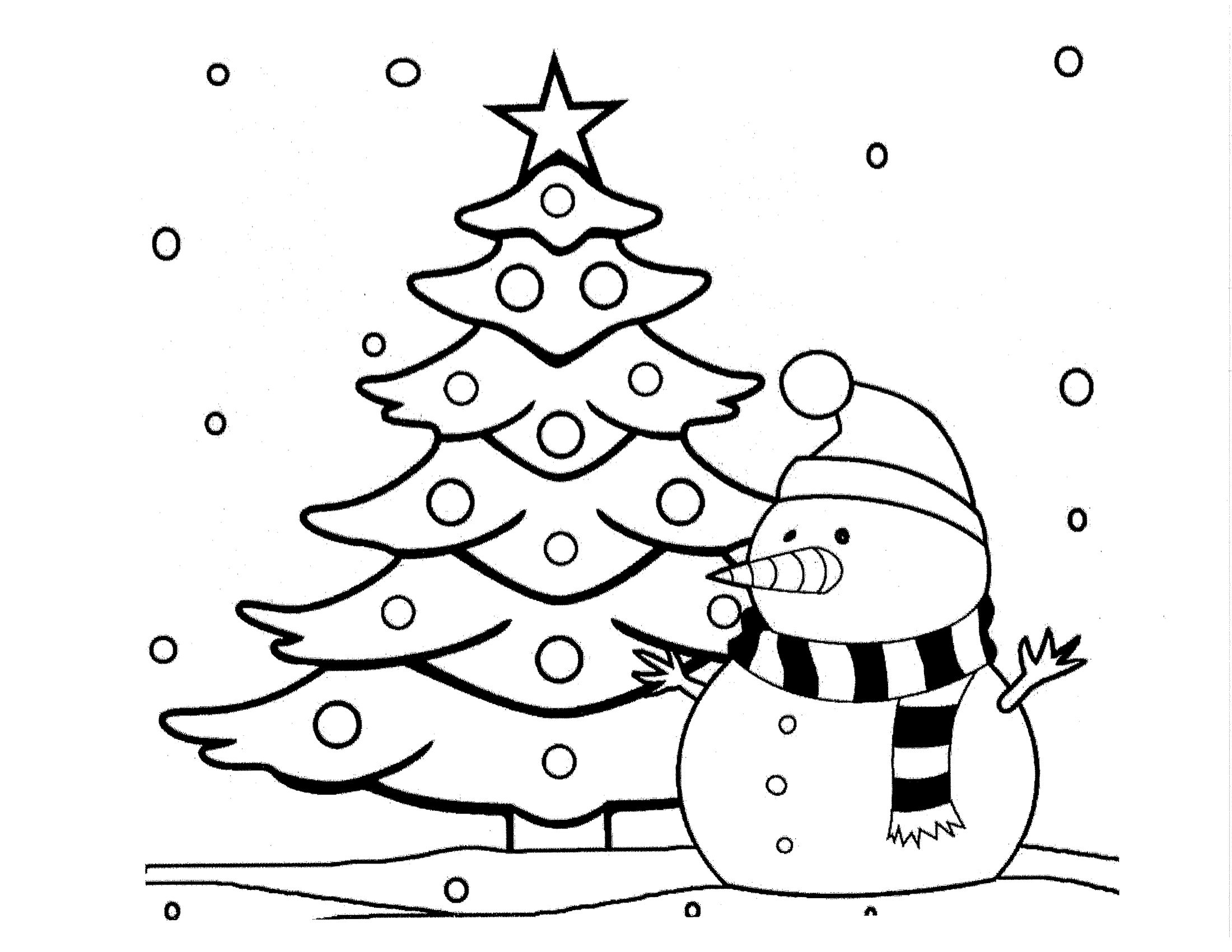 Tranh người tuyết và cây thông tô màu