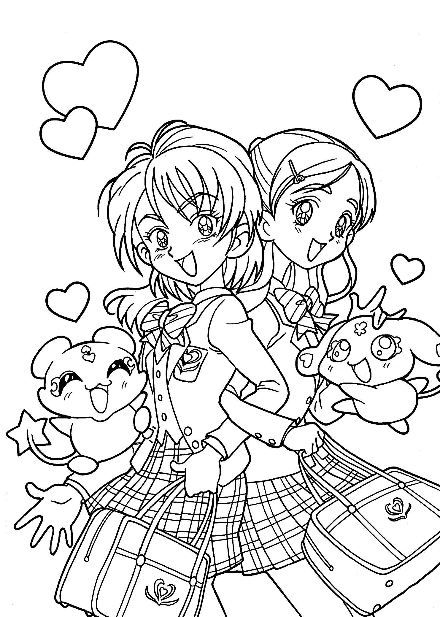 Tranh tô màu bạn gái anime dễ thương nhất