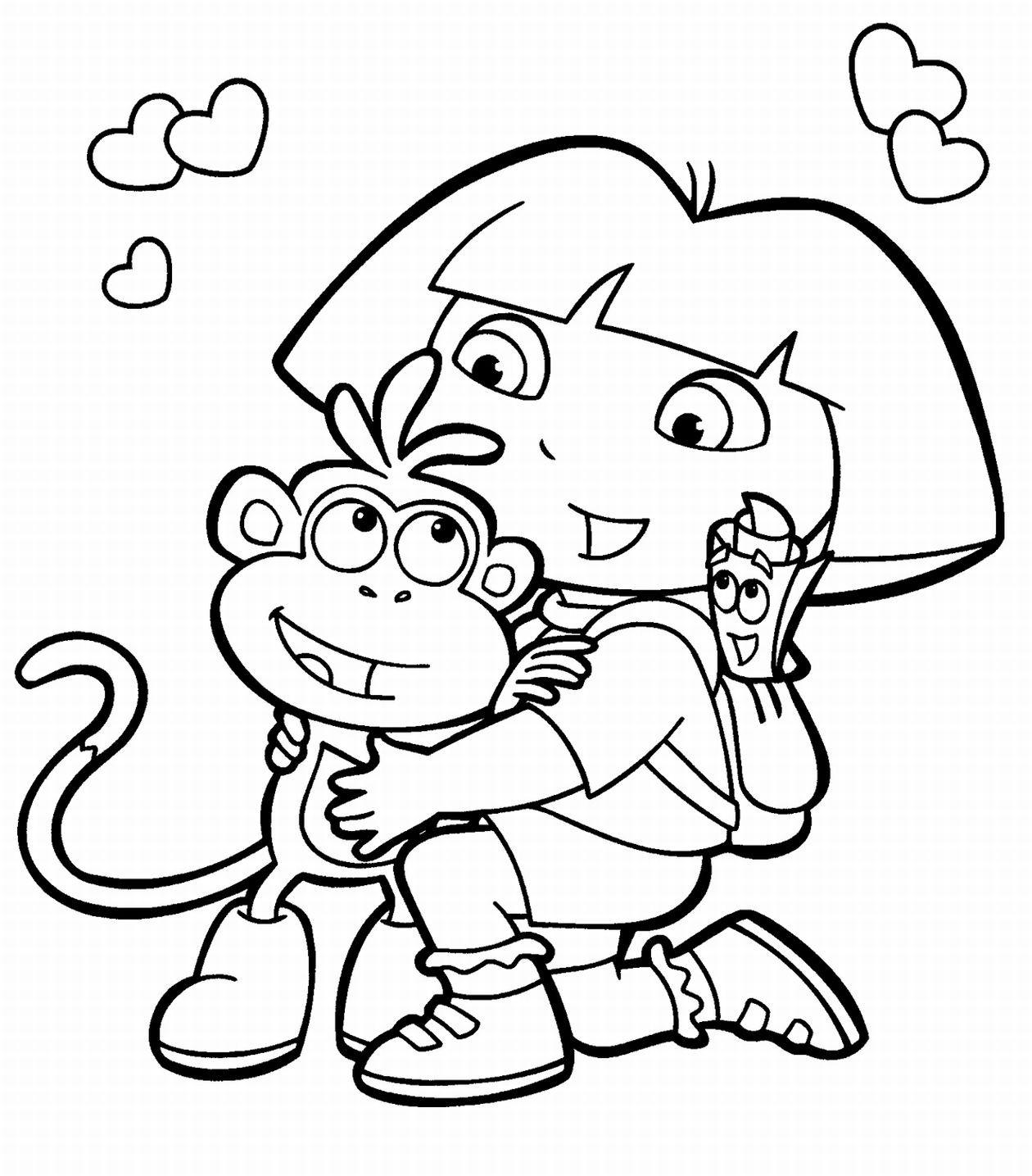 Tranh tô màu bạn gái và chú khỉ