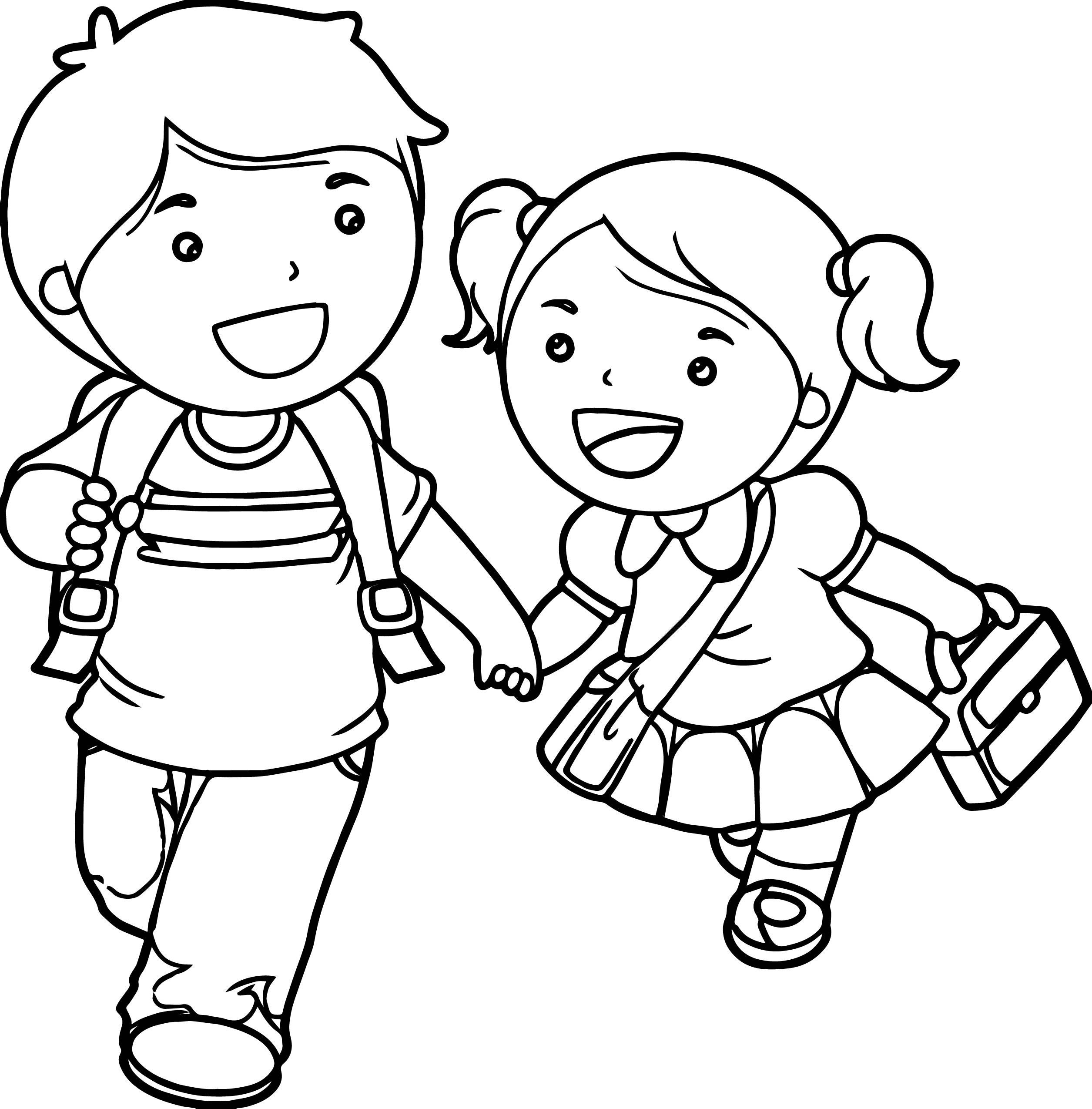 Tranh tô màu bạn trai, bạn gái đi hoc