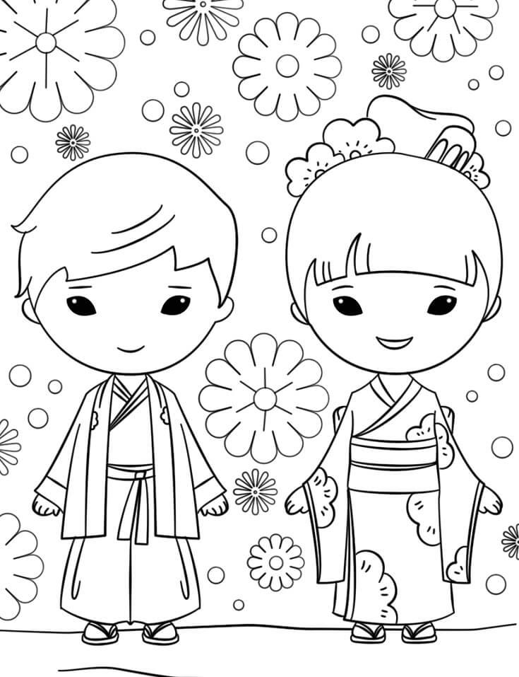 Tranh tô màu bạn trai, bạn gái Nhật Bản