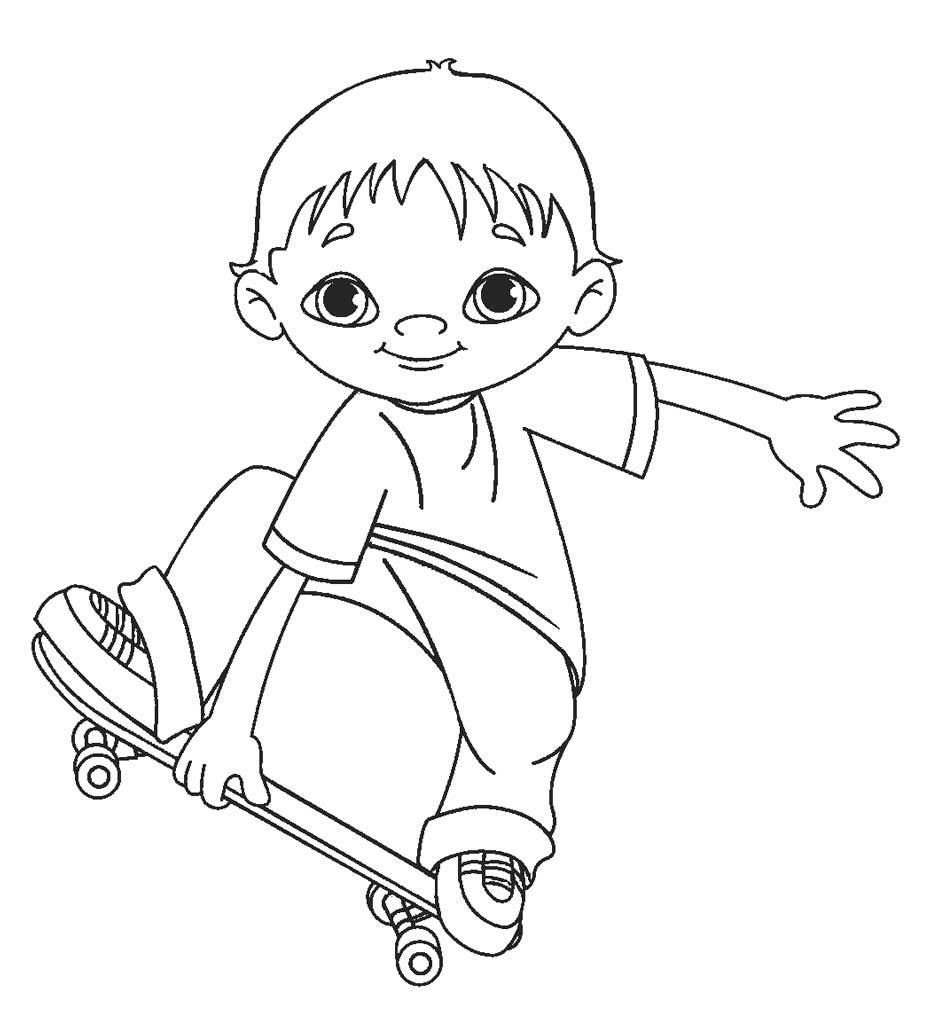 Tranh tô màu bạn trai lướt ván