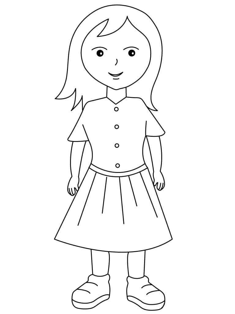 Tranh tô màu bé gái đơn giản