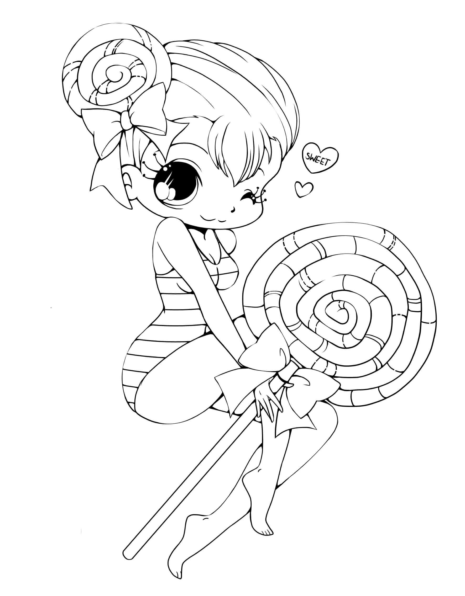Tranh tô màu bé gái và cây kẹo