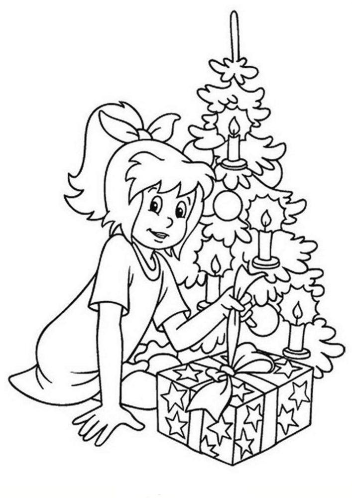 Tranh tô màu bé gái và cây thông Noel