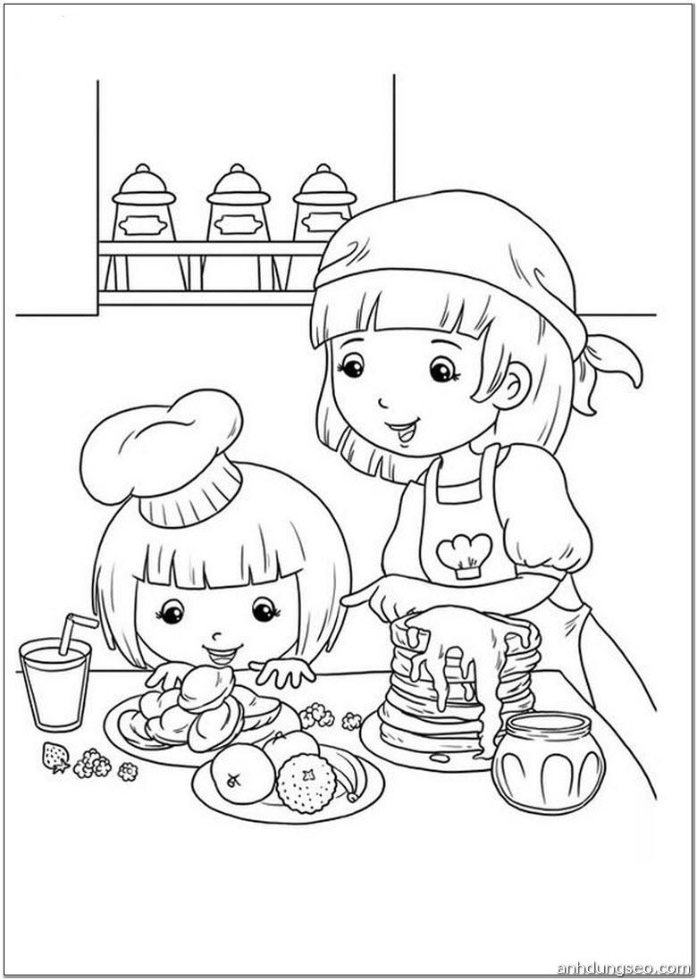 Tranh tô màu bé gái và mẹ