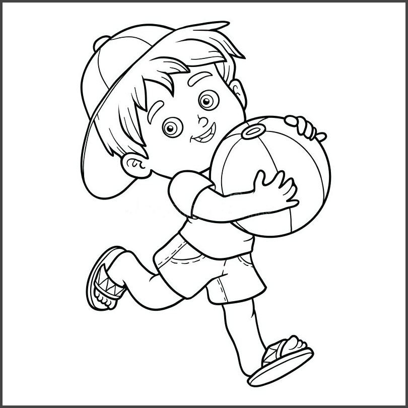 Tranh tô màu bé trai cầm bóng chạy
