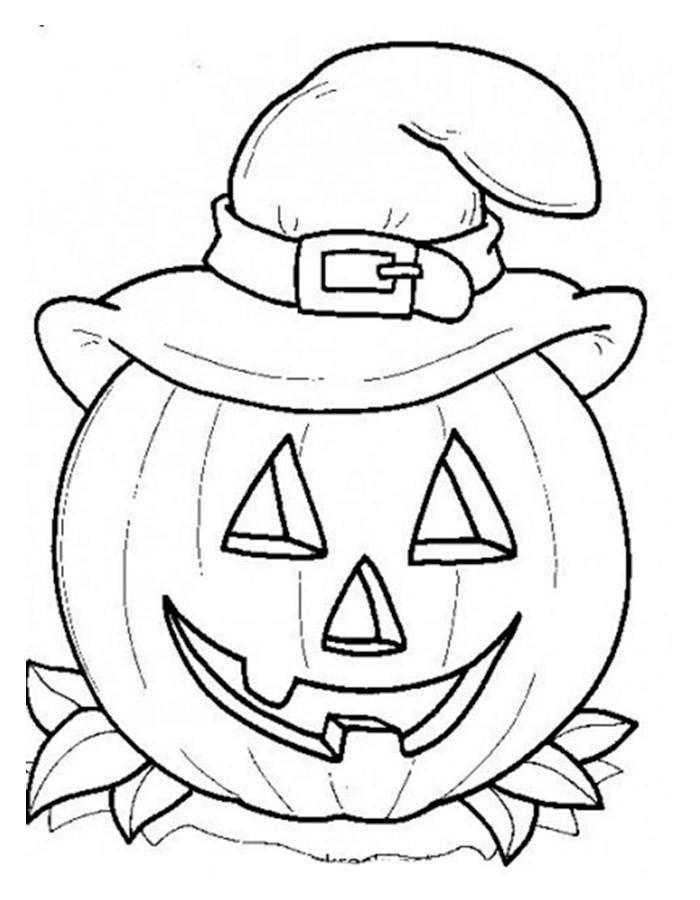 Tranh tô màu bí ngô Halloween đội mũ