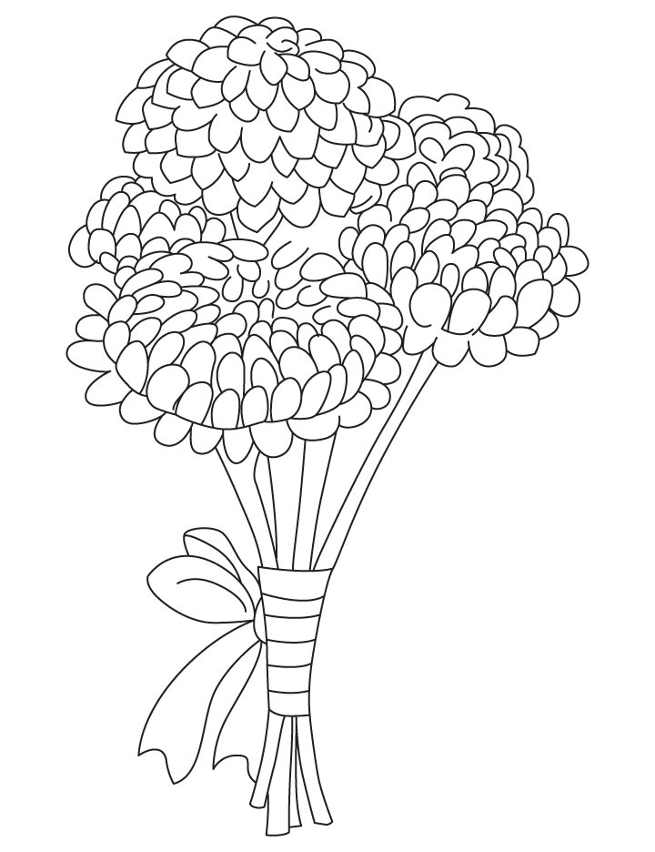 Tranh tô màu bó hoa cúc cực đẹp