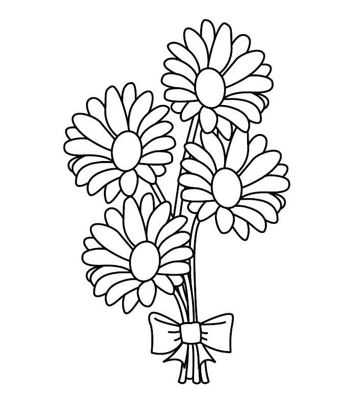 Tranh tô màu bó hoa cúc