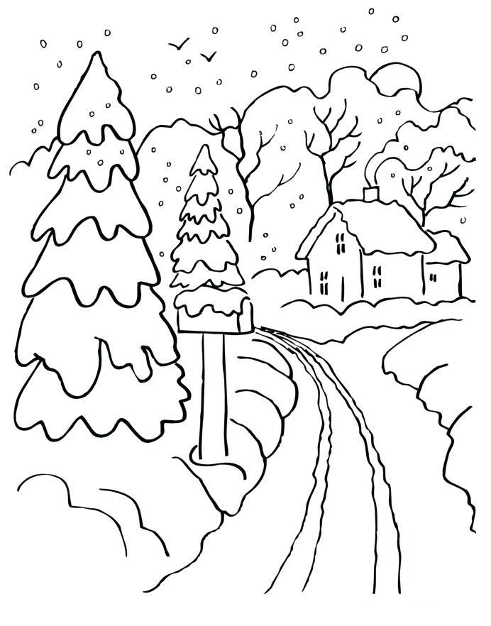 Tranh tô màu cây thông mùa đông