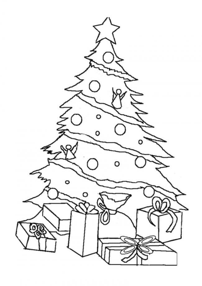 Tranh tô màu cây thông mùa giáng sinh