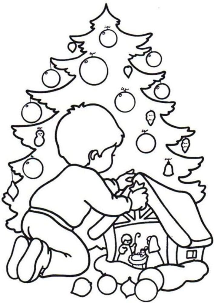 Tranh tô màu cây thông Noel cho bé đẹp nhất