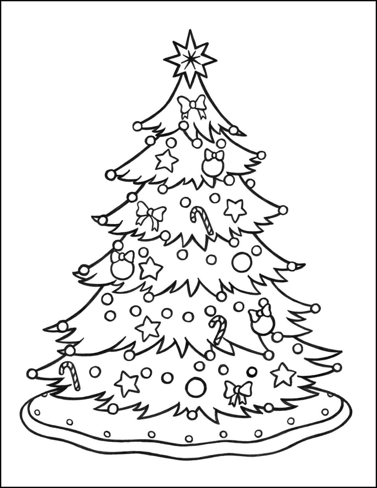 Tranh tô màu cây thông Noel cực đẹp