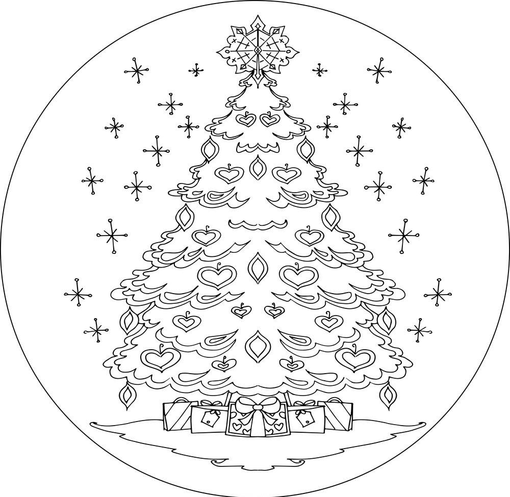 Tranh tô màu cây thông Noel cute