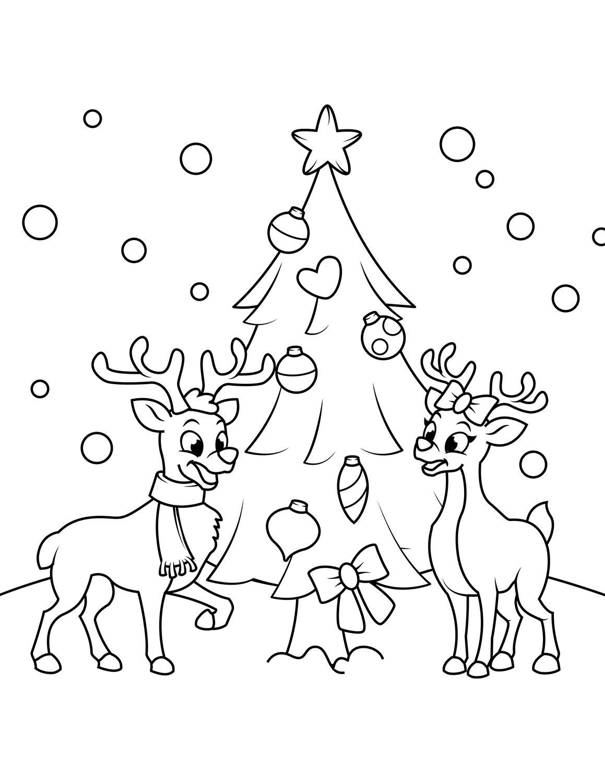 Tranh tô màu cây thông Noel dễ thương