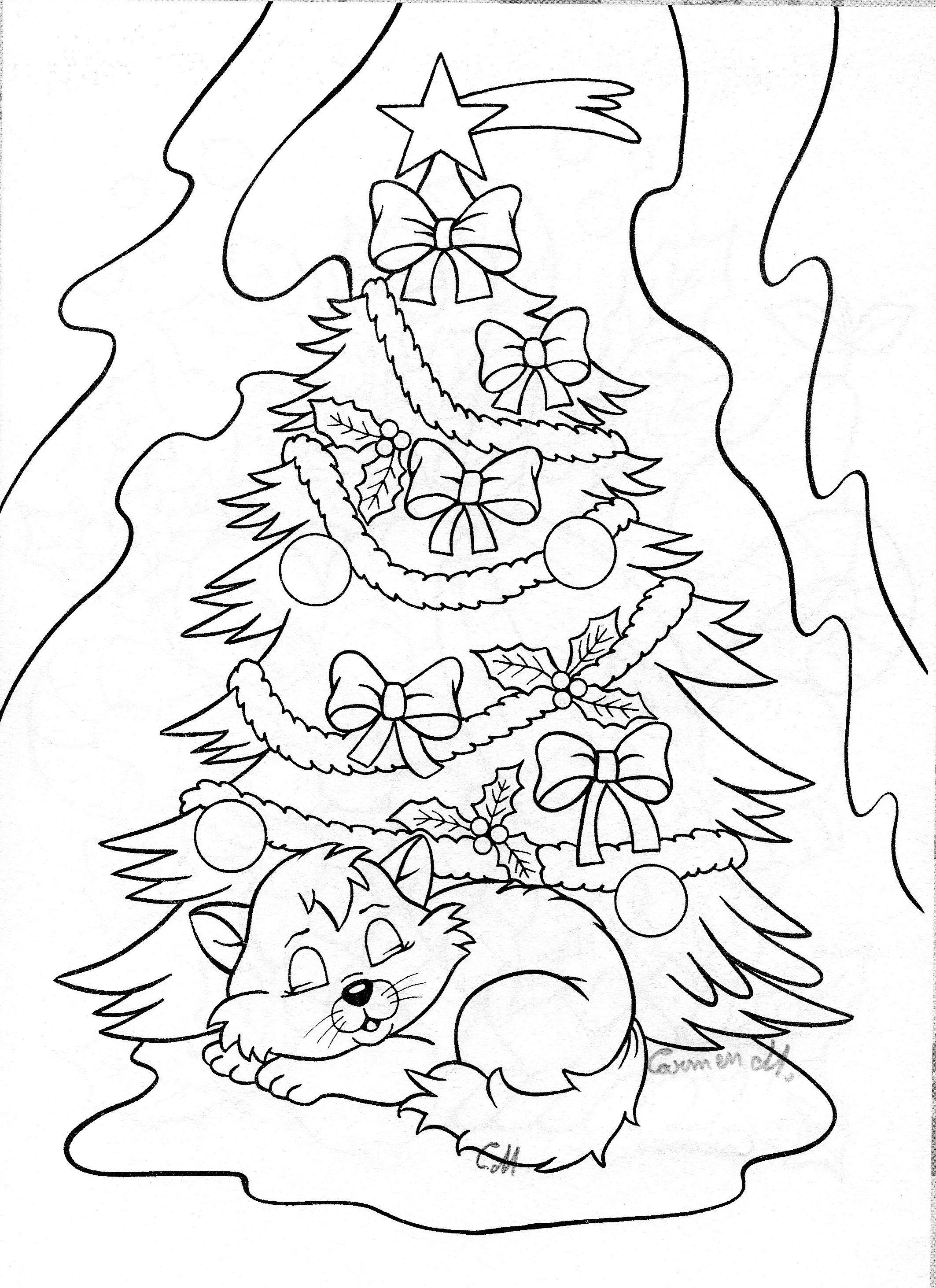 Tranh tô màu cây thông Noel đẹp, dễ thương