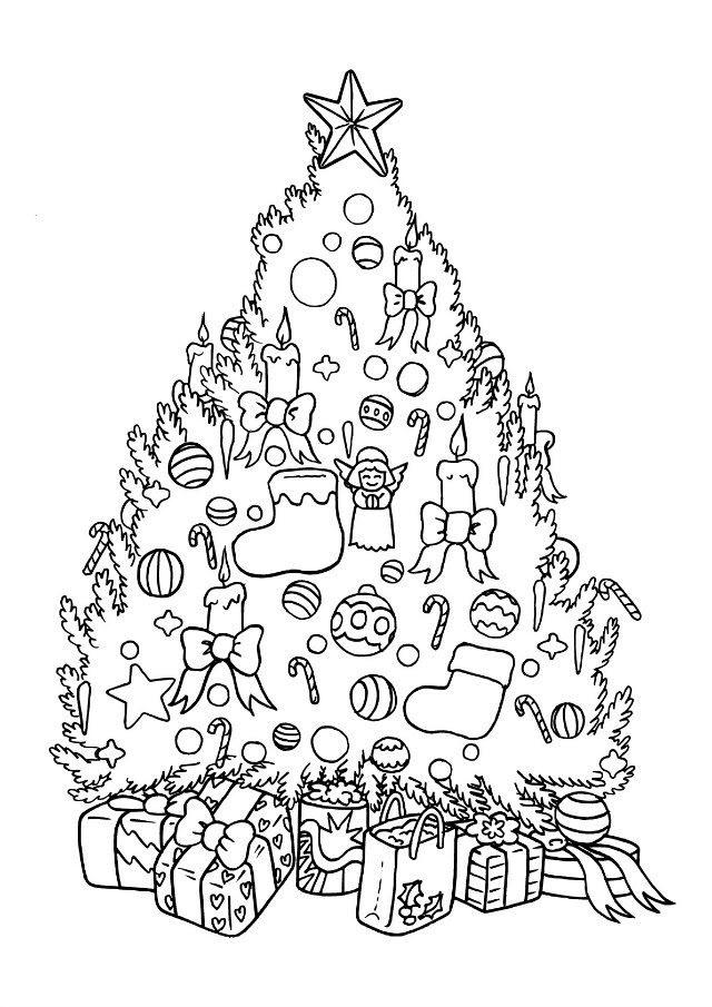 Tranh tô màu cây thông Noel đẹp, lộng lẫy nhất