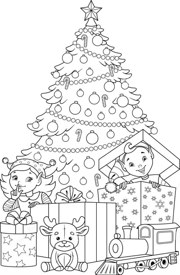 Tranh tô màu cây thông Noel đẹp và ý nghĩa