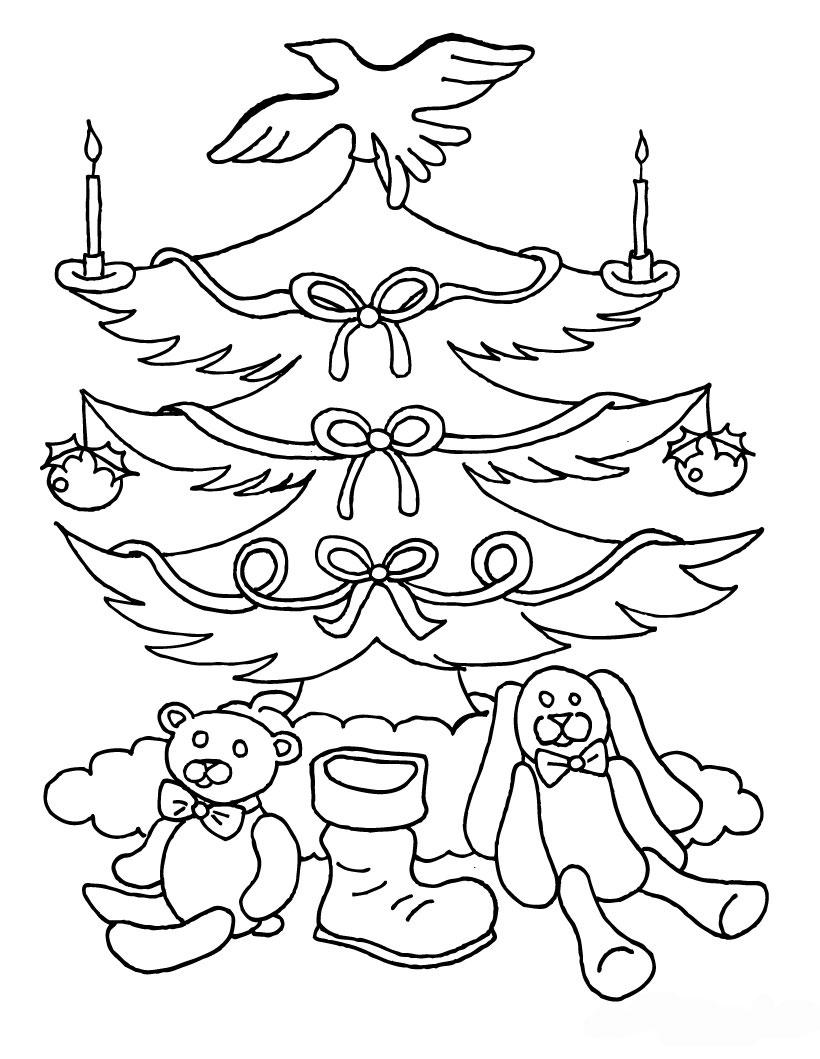 Tranh tô màu cây thông Noel đơn giản