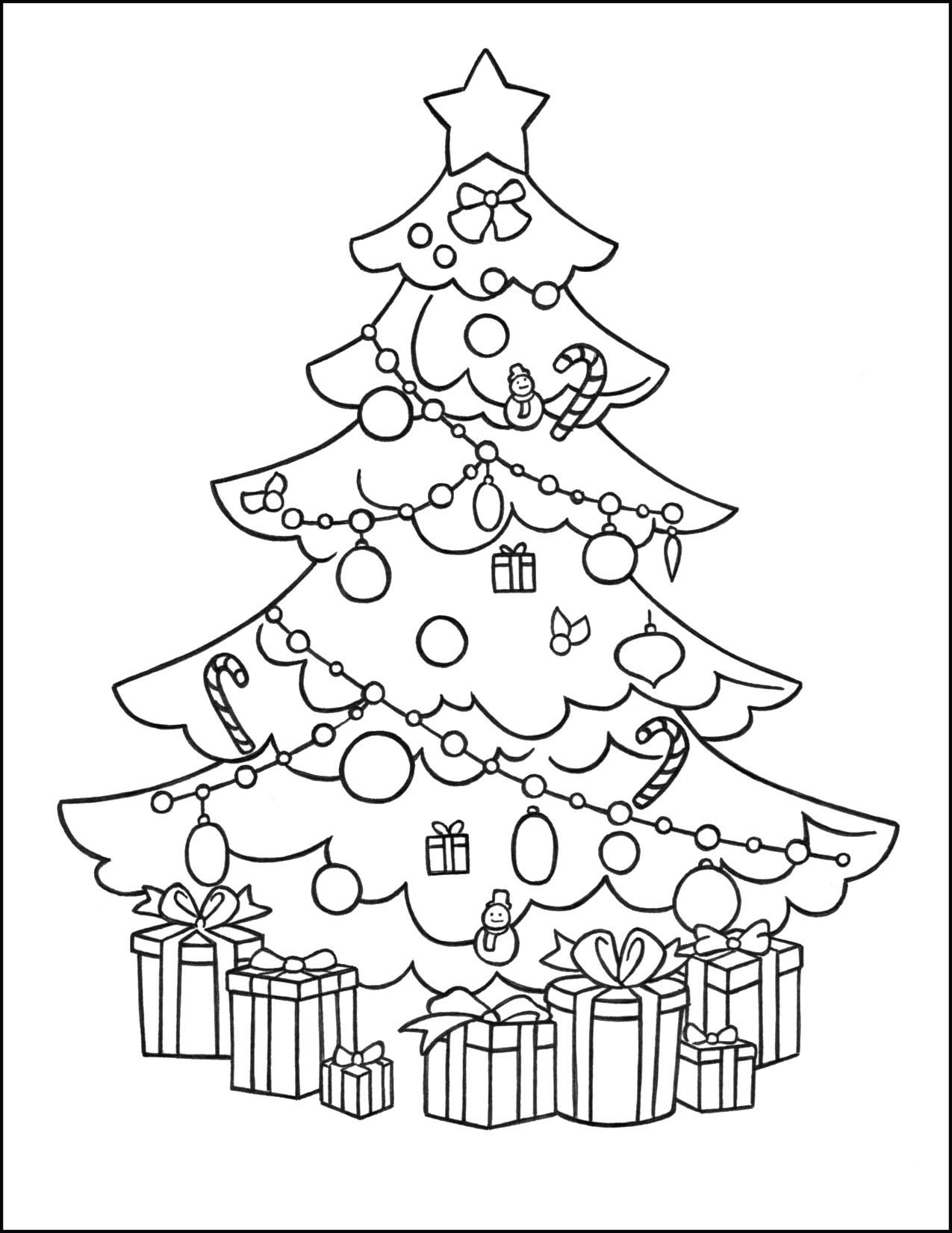 Tranh tô màu cây thông Noel trang hoàng, lộng lẫy