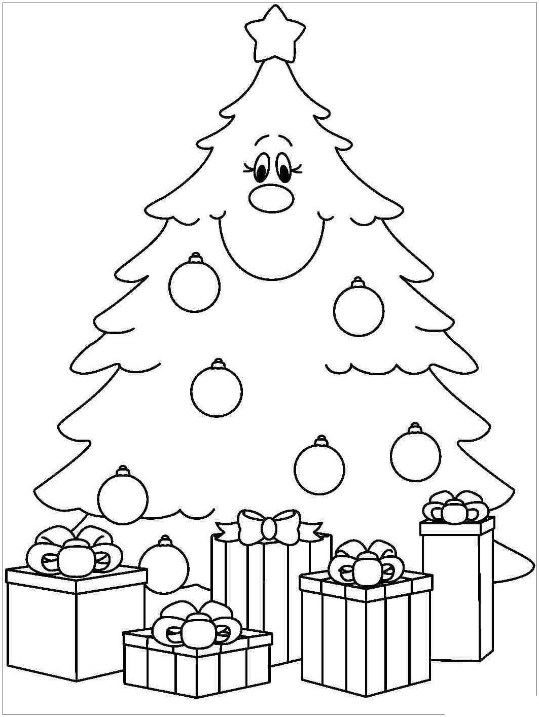 Tranh tô màu cây thông Noel và những hộp quà