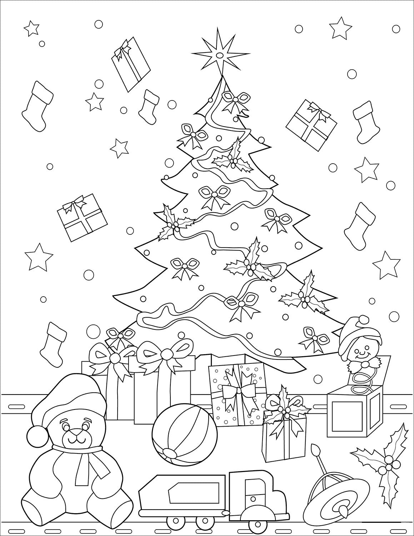 Tranh tô màu cây thông Noel và những mòn đồ chơi