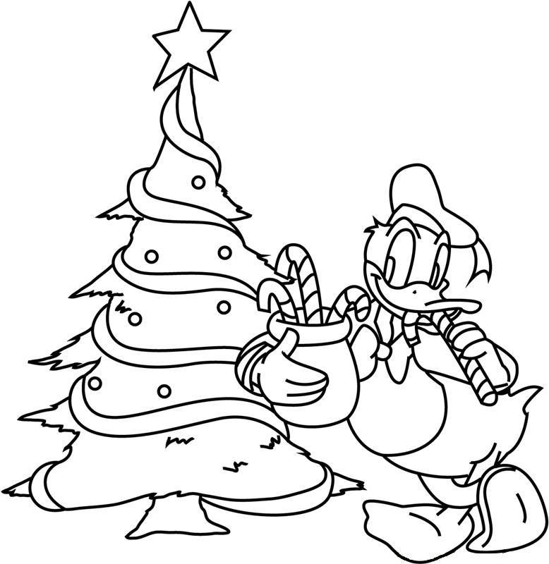 Tranh tô màu cây thông và chú vịt Donald