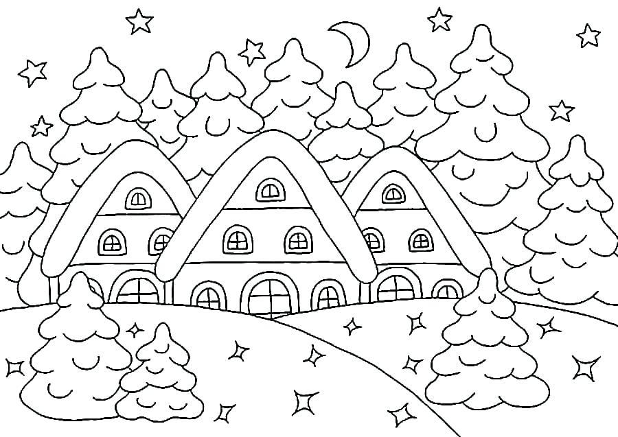 Tranh tô màu cây thông và những ngôi nhà