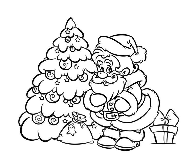 Tranh tô màu cây thông và ông già Noel