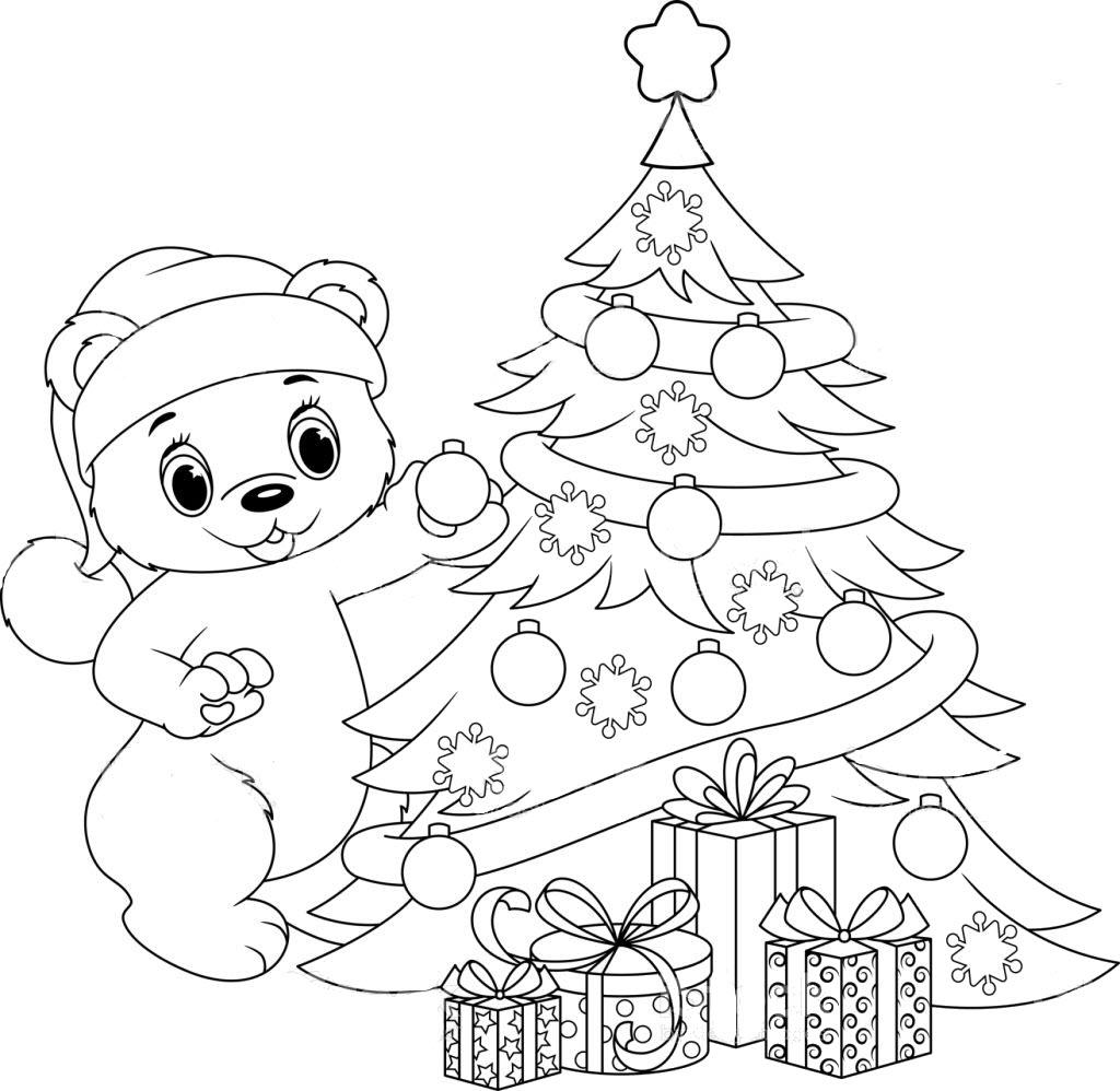 Tranh tô màu cho bé hình cây thông Noel