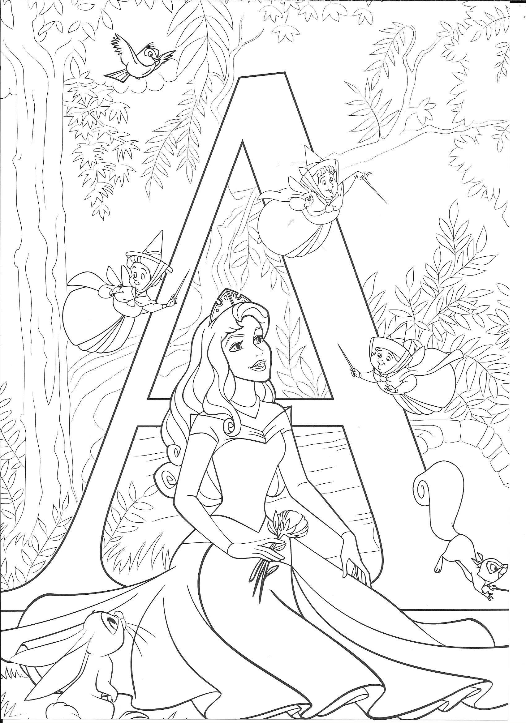 Tranh tô màu chủ đề công chúa Aurora