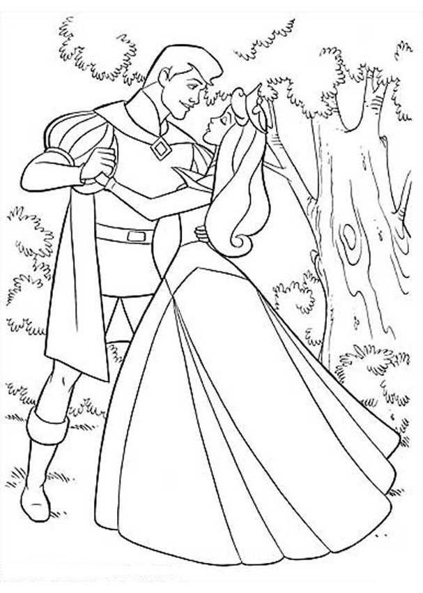 Tranh tô màu công chúa Aurora khiêu vũ cùng hoàng tử