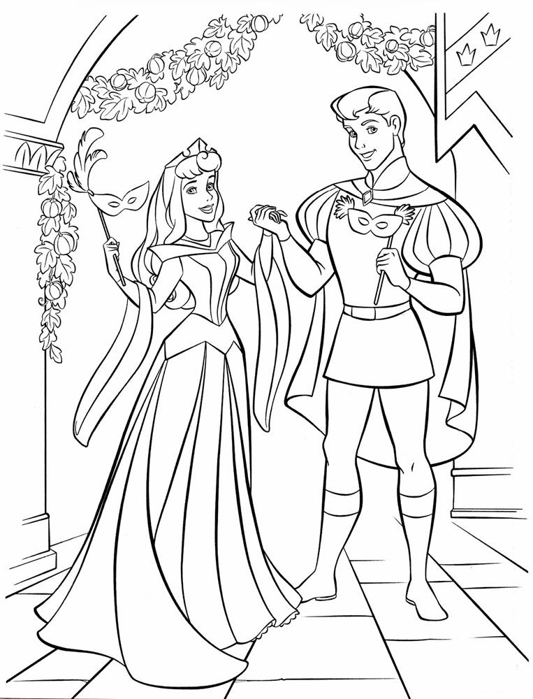Tranh tô màu công chúa Aurora và hoàng tử điển trai
