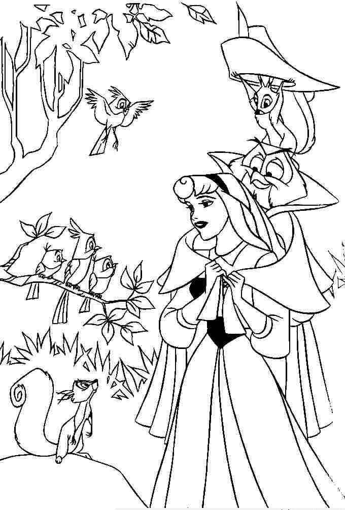 Tranh tô màu công chúa Disney - Công chúa ngủ trong rừng Aurona