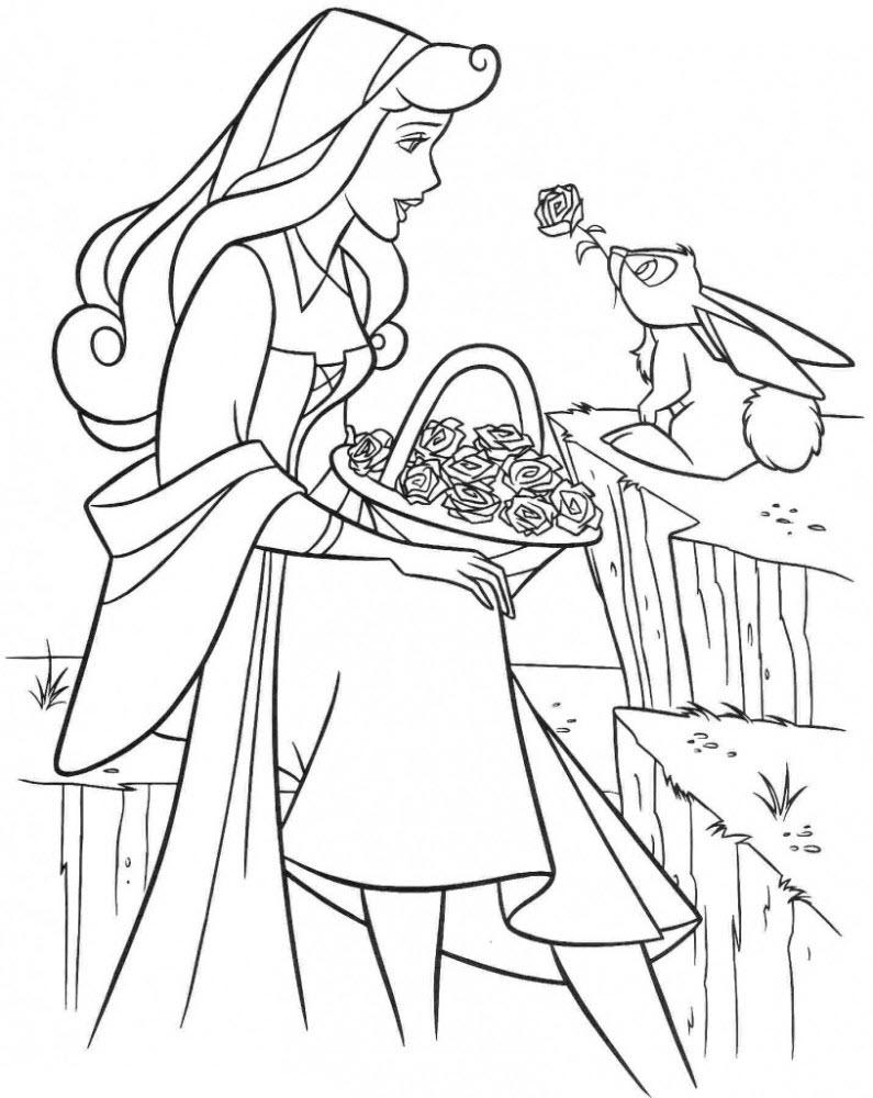 Tranh tô màu công chúa ngủ trong rừng Aurona và chú thỏ đáng yêu