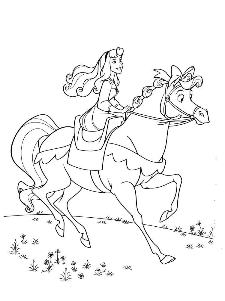 Tranh tô màu công chúa ngủ trong rừng Aurora cưỡi ngựa