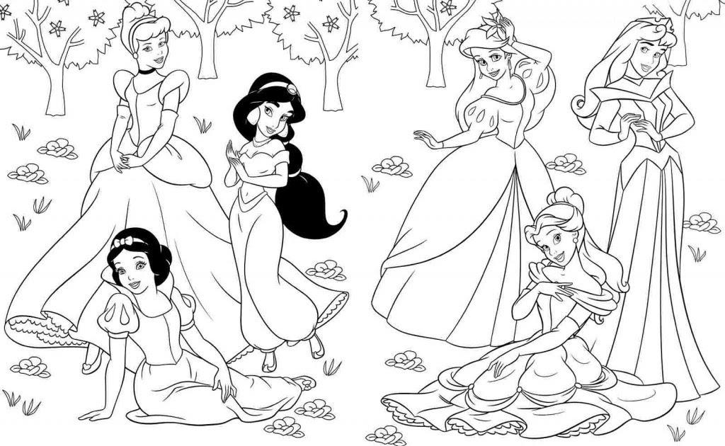 Tranh tô màu công chúa ngủ trong rừng cùng các nàng công chúa khác
