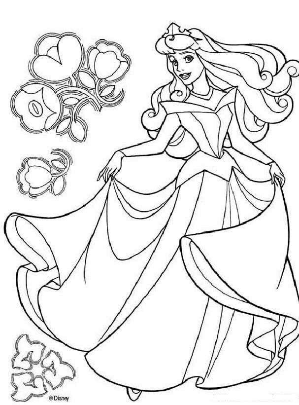 Tranh tô màu công chúa ngủ trong rừng nhảy múa