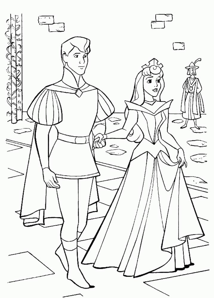 Tranh tô màu công chúa ngủ trong rừng sánh bước bên hoàng tử