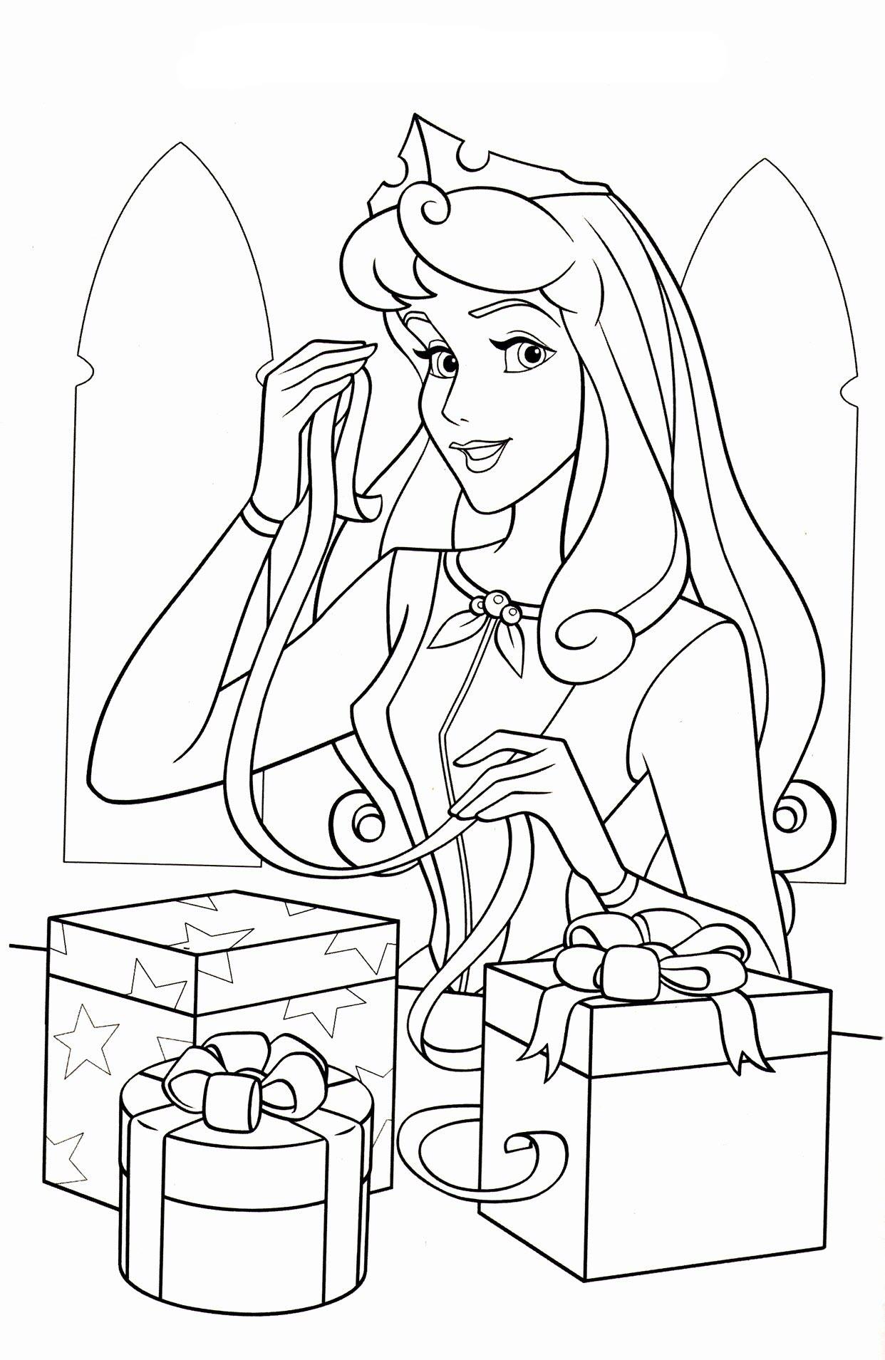 Tranh tô màu công chúa ngủ trong rừng và những món quà