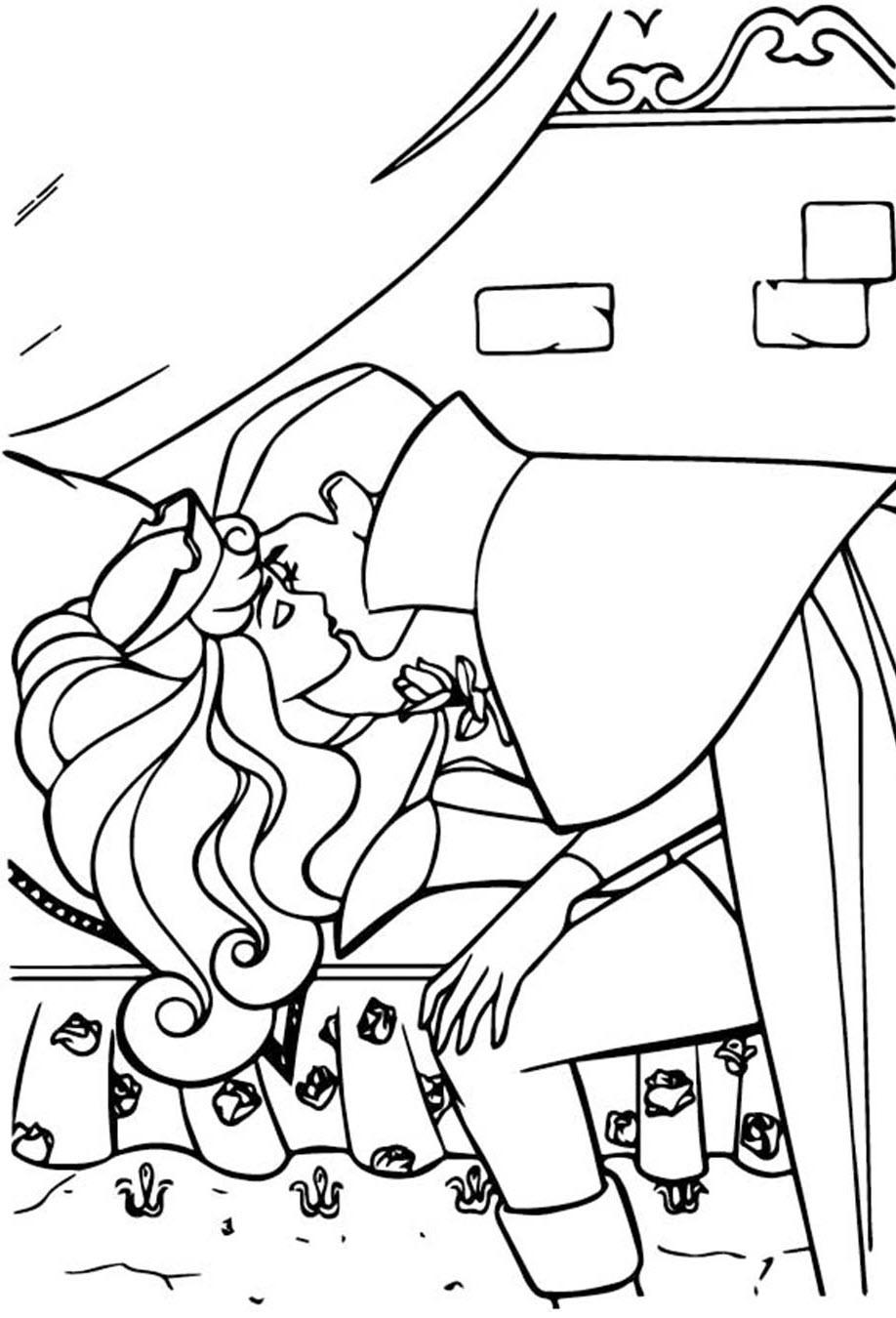 Tranh tô màu công chúa ngủ trong rừng và nụ hôn hoàng tử