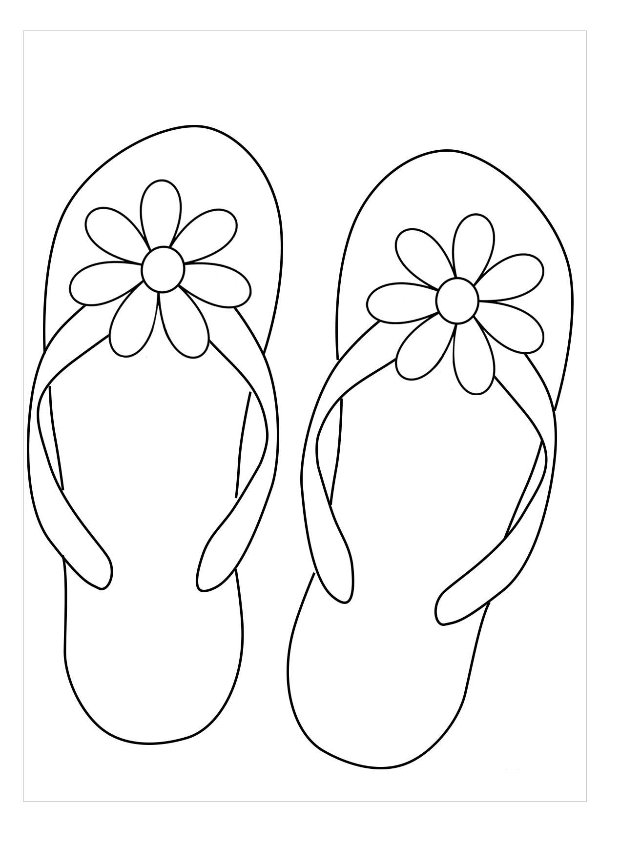 Tranh tô màu dép xỏ ngón nơ hoa
