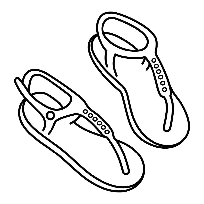 Tranh tô màu đôi dép dễ thương