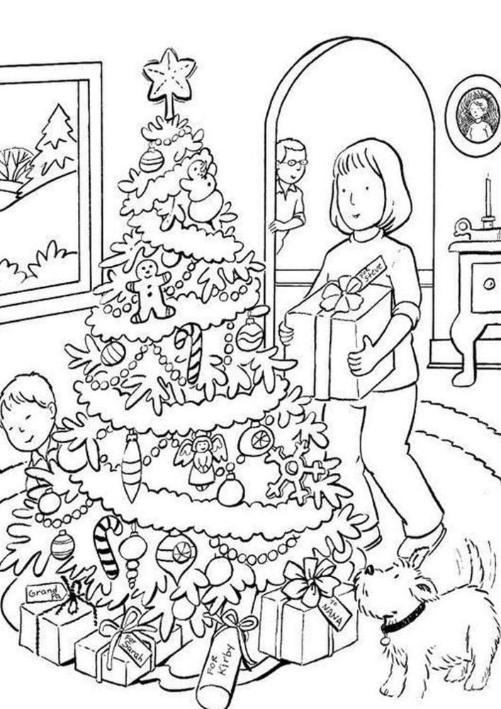 Tranh tô màu gia đình trang trí cây thông Noel