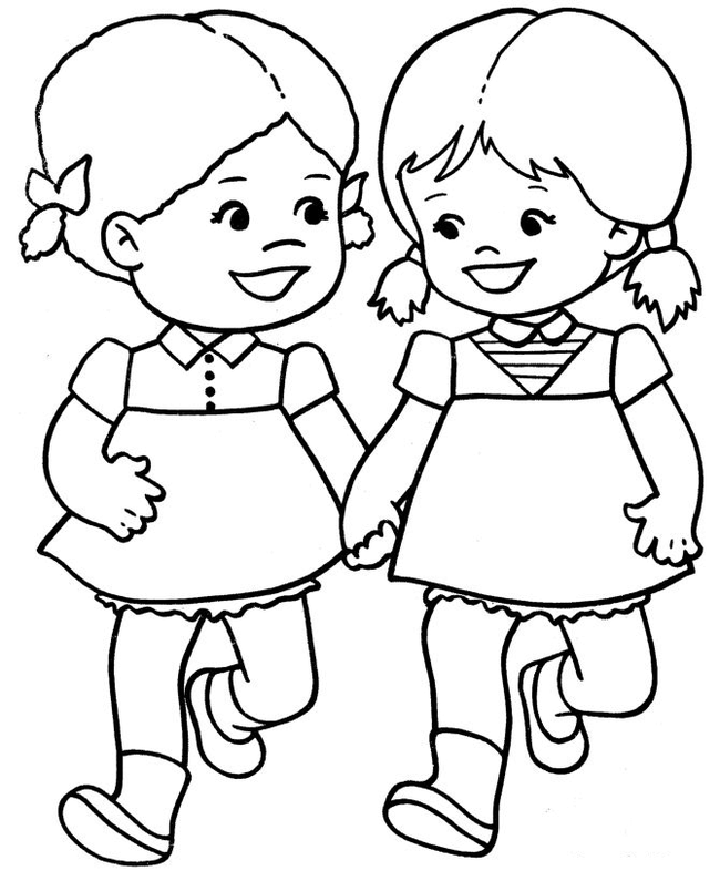 Tranh tô màu hai bé gái