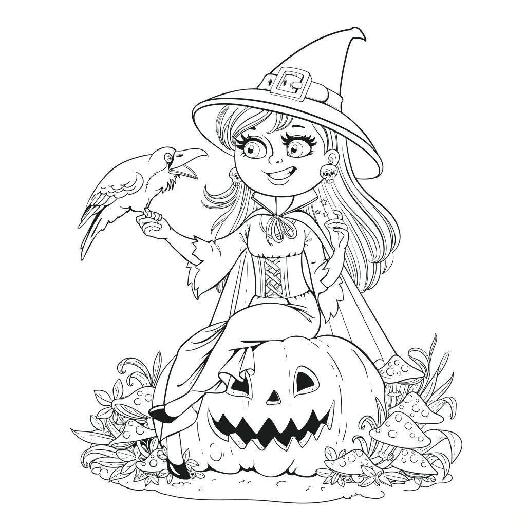 Tranh tô màu Halloween dễ thương cho bé
