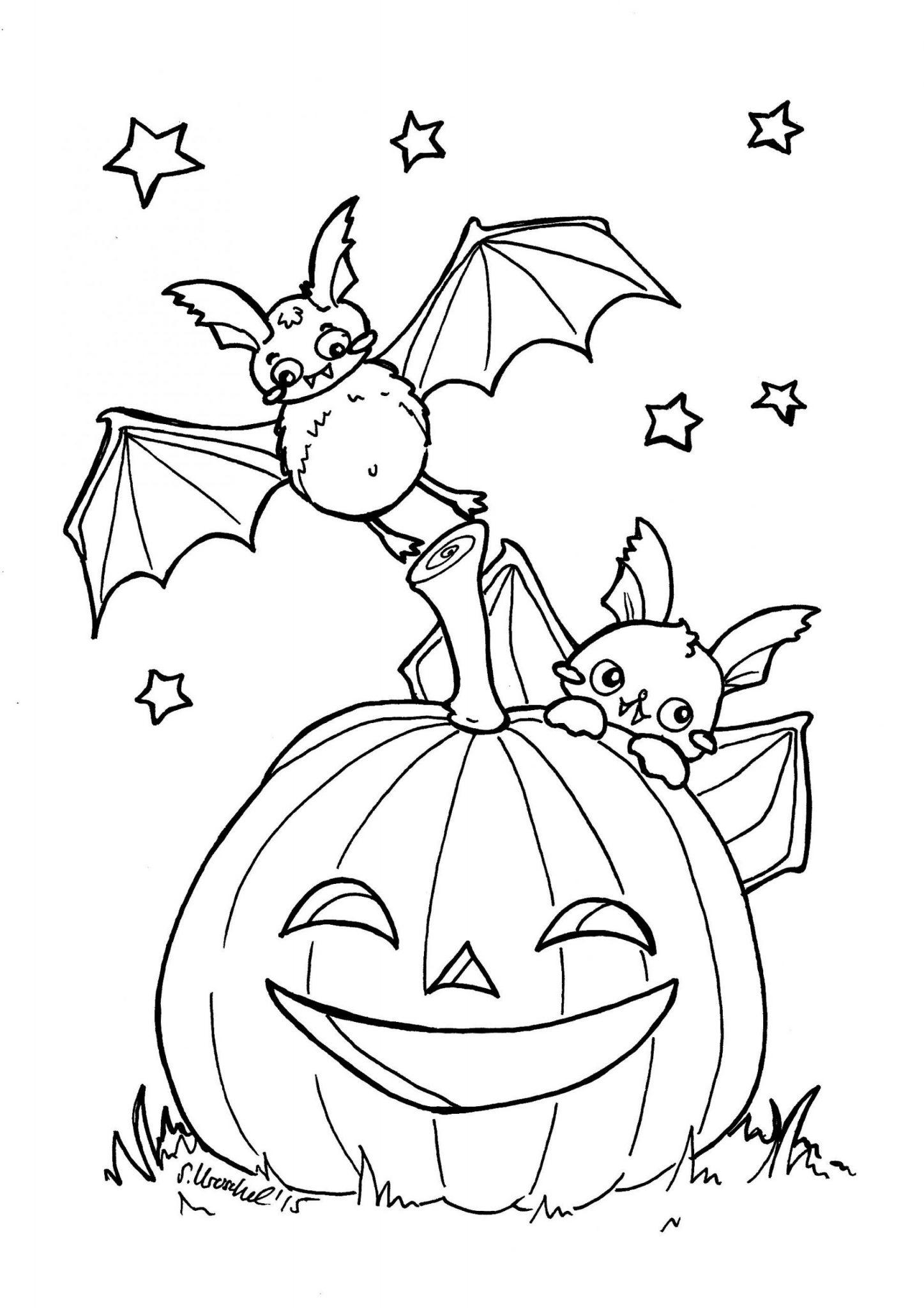 Tranh tô màu Halloween hình bí ngô và những chú dơi