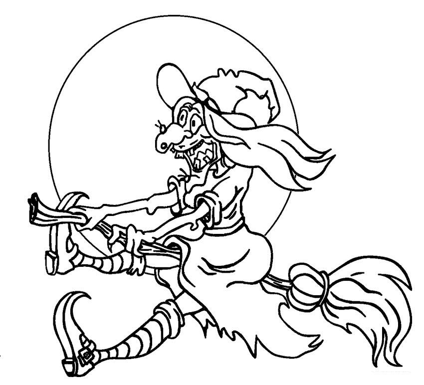 Tranh tô màu Halloween hình phù thủy cưỡi chổi