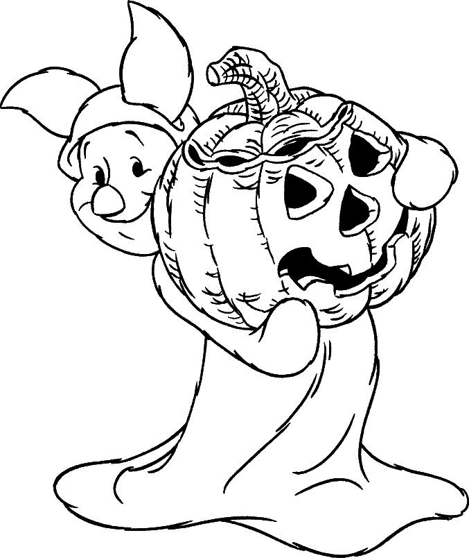 Tranh tô màu heo Piglet và quả bí ngô Halloween